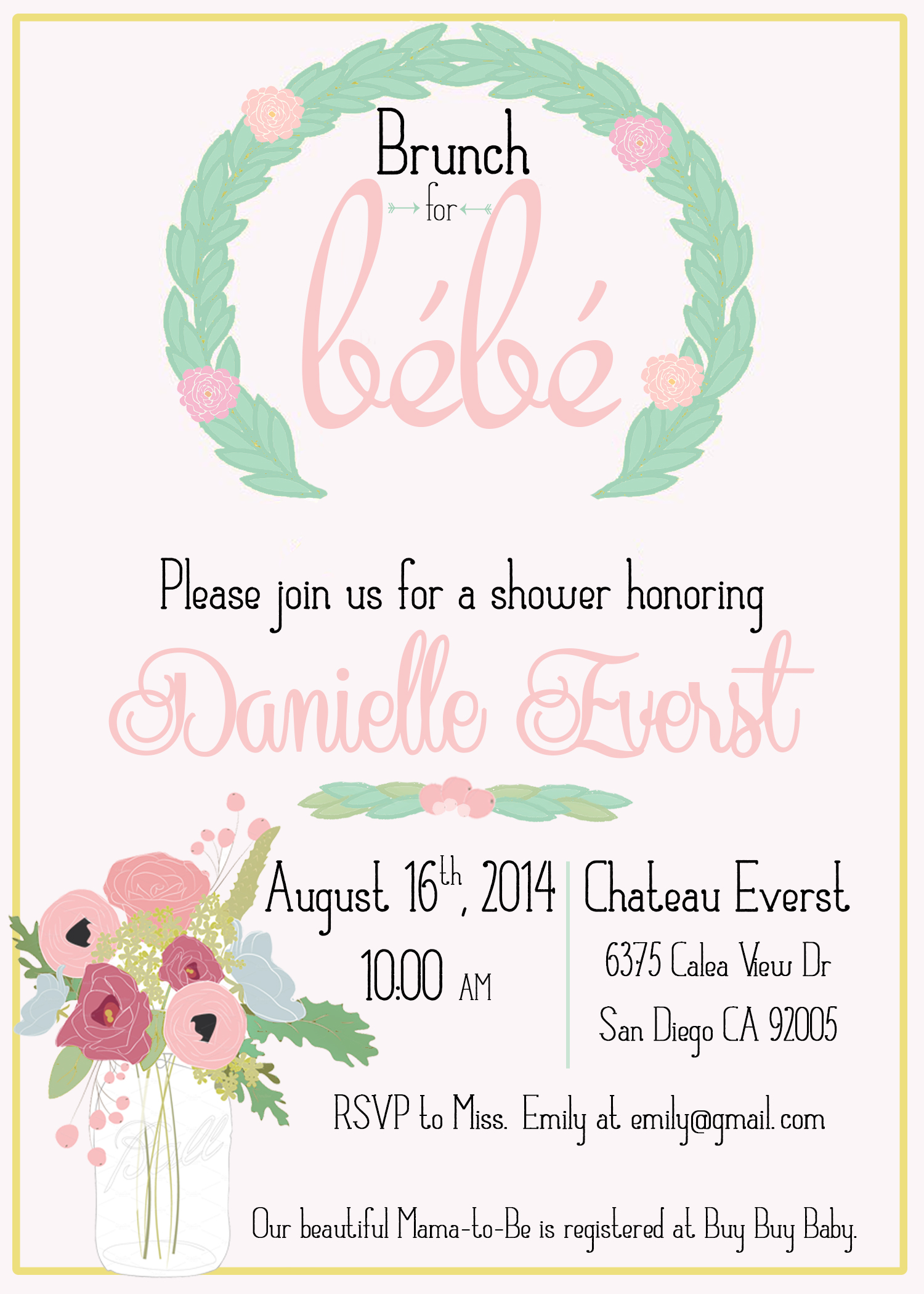 Brunch with Bebe French Countryside Inspired Baby Shower Invitation