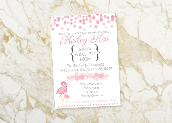 """These invitations were perfect and they make me so happy to look at for my upcoming flamingo-themed baby shower! Great work and easy to work with! Would recommend ;)"" - Kaara, Blaine, WA"